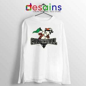 Calvin Ball White Long Sleeve Tee Calvin Hobbes Baseball T-shirts