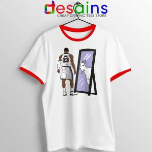 LeBron James Mirror GOAT Red Ringer Tee Los Angeles Lakers T-shirts
