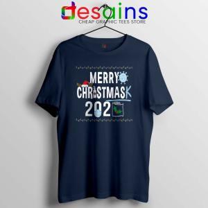 Merry Christmask Navy Tshirt Quarantine Ugly Christmas Tee Shirts