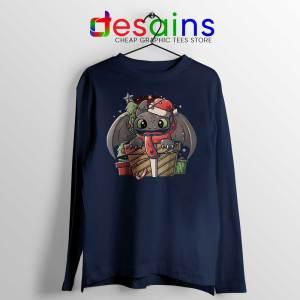 Toothless Dragon Santa Navy Long Sleeve Tee Christmas Night Fury