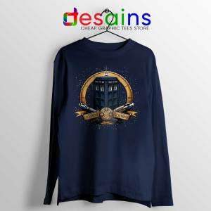 Allons y Geronimo Tardis Navy Long Sleeve Tee Doctor Who T-shirts