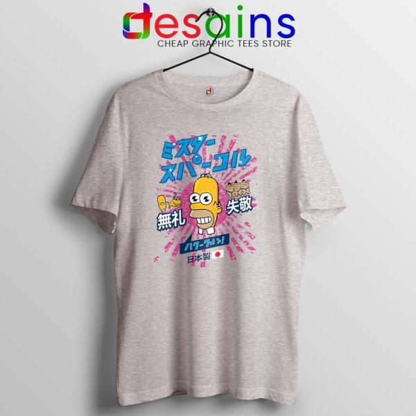 Homer Simpson Mr Sparkle Sport Grey Tshirt Rising Sun Tee Shirts