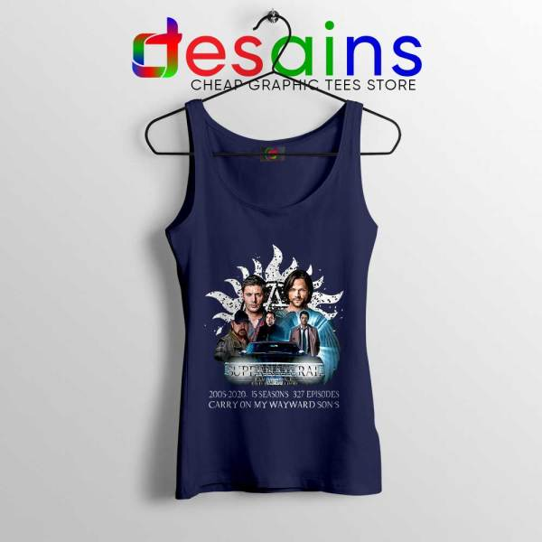 Supernatural Family Navy Tank Top Dont End With Blood 4W Tops