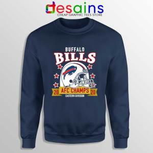 Buffalo Bills White Helmet Navy Sweatshirt AFC East Champs