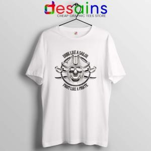 Pirate Skull and Crossbones White T Shirt