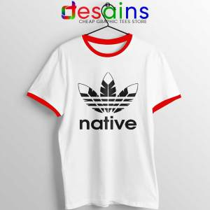 Native American Adidas Red Ringer Tee Indians Logo