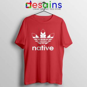 Native American Adidas Red T Shirt Indians Logo