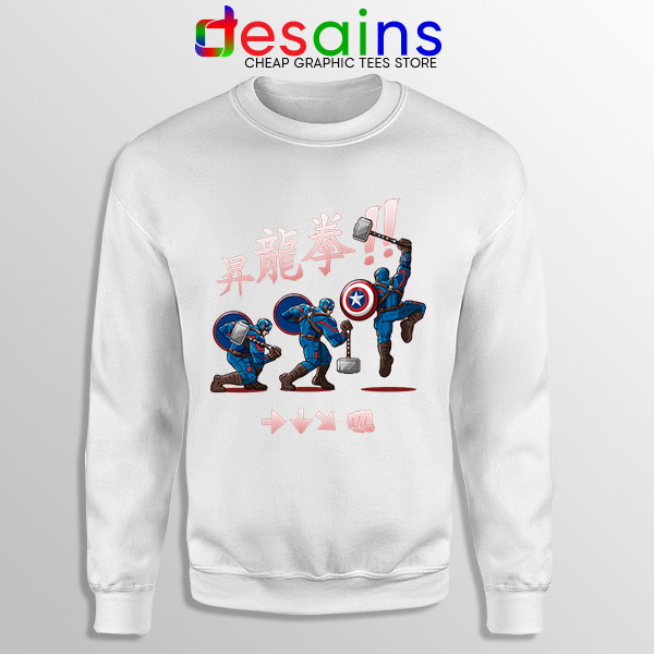 Captain America Shoryuken White Sweatshirt Street Fighter