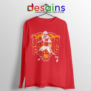 Cheap Justin Fields NFL Red Long Sleeve Tee Chicago Bears