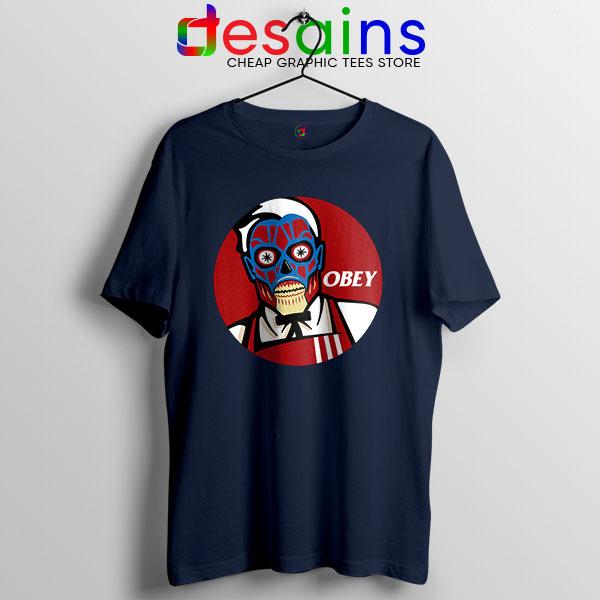 Funny Obey KFC Skull Navy T Shirt Face Bones Logo