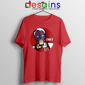 Funny Obey KFC Skull Red T Shirt Face Bones Logo