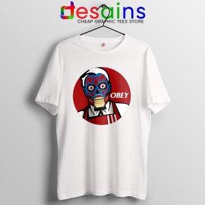 Funny Obey KFC Skull WHite T Shirt Face Bones Logo