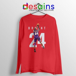 Kobe Bryant 24 Best Dunk Red Long Sleeve Tee Legend NBA