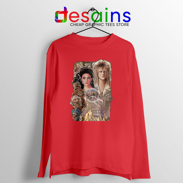 Bowie In Labyrinth Red Long Sleeve Tee Tribute Film