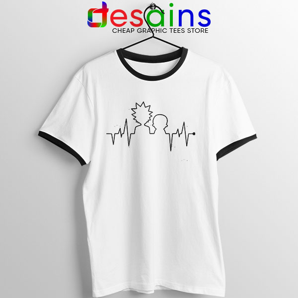 Funny Heartbeat Rick and Morty Ringer Tee Adult Swim