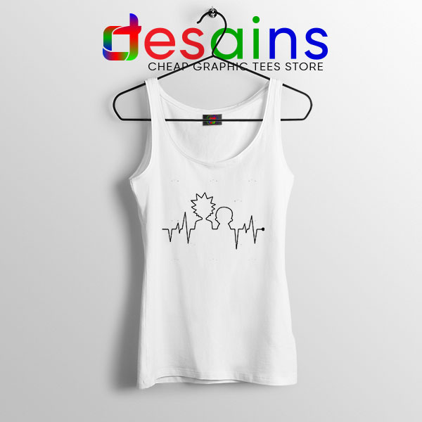 Funny Heartbeat Rick and Morty White Tank Top Adult Swim