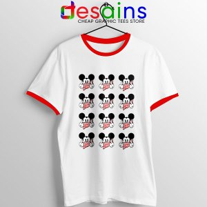 Mickey Mouse Flipping You Off Red Ringer Tee