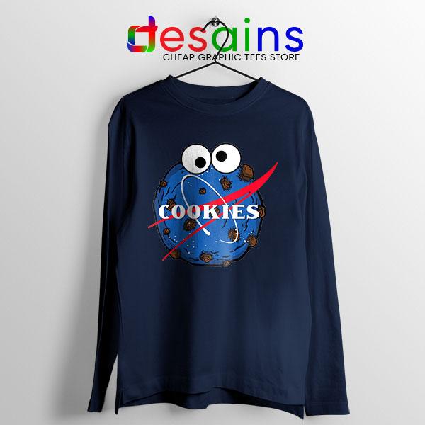 NASA Space Cookies Navy Long Sleeve Tee Funny Old Logo