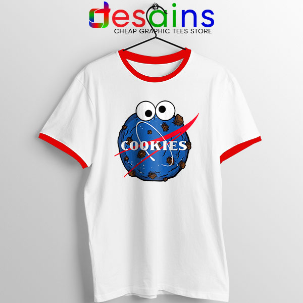 NASA Space Cookies Red Ringer Tee Funny Old Logo