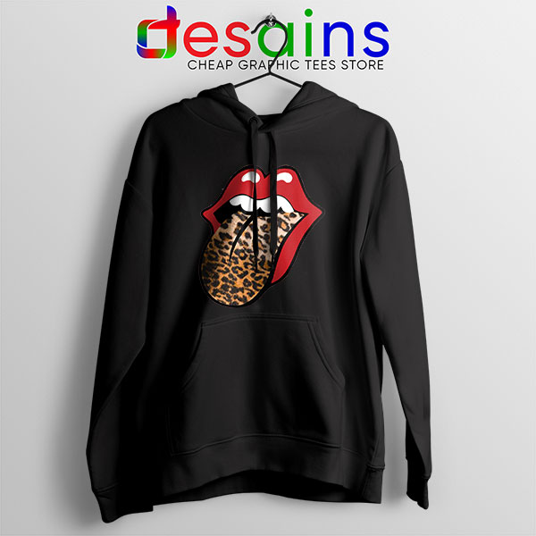 Rolling Stones Tongue Leopard Black Hoodie Band Logo