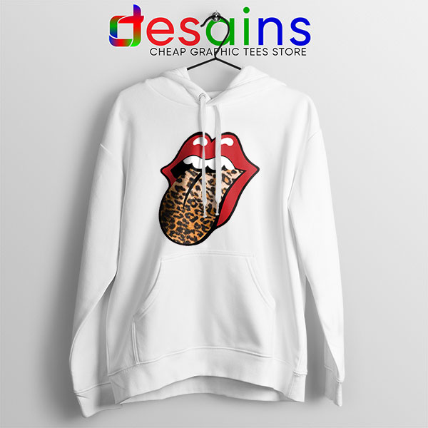 Rolling Stones Tongue Leopard Hoodie Band Logo