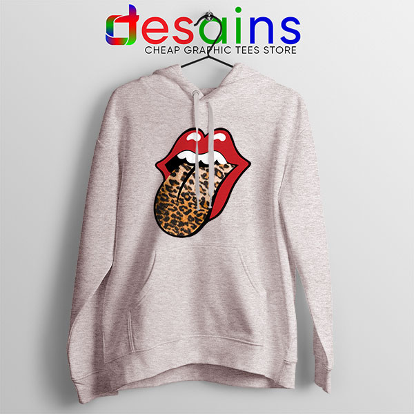 Rolling Stones Tongue Leopard Sport Grey Hoodie Band Logo