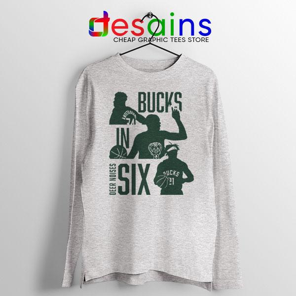 Best Bucks In Six NBA SPort Grey Long Sleeve Tee Milwaukee Bucks