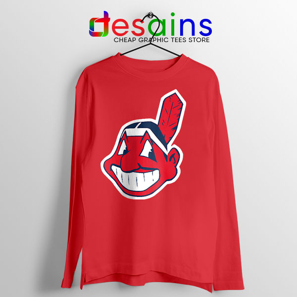 Best Chief Wahoo Logo Red Long Sleeve Tee Cleveland Indians