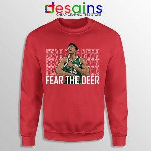 Buy Fear The Deer Giannis Red Sweatshirt Bucks Final