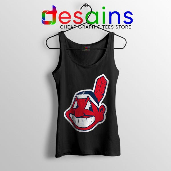 Chief Wahoo Logo Black Tank Top Cleveland Indians MLB