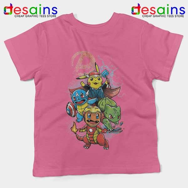 Cute Pokemon Avengers Pink Kids Tee Pokengers