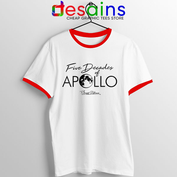 Five Decades of Apollo Red Ringer Tee Elon Musk