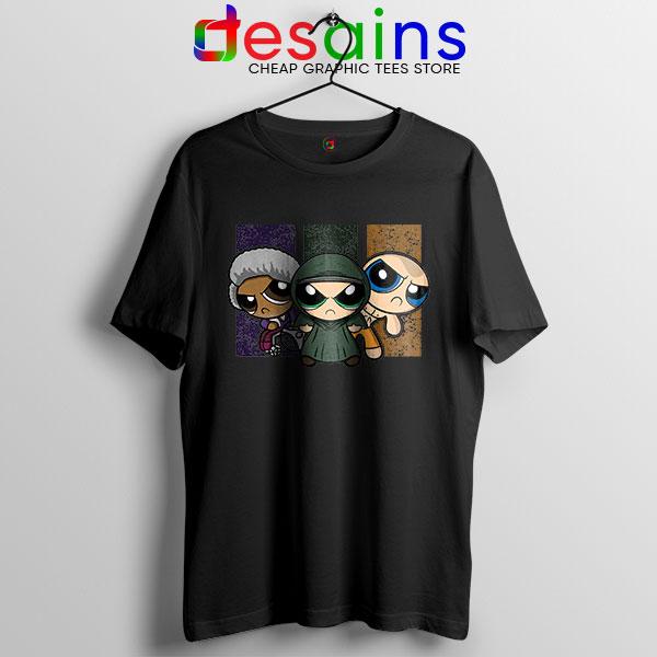 Glass Film Powerpuff Girls Black T Shirt Cartoon Split