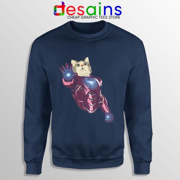 Meow Iron Man Avengers Navy Sweatshirt Funny Cats