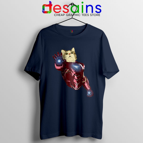 Meow Iron Man Avengers Navy T Shirt Funny Cats