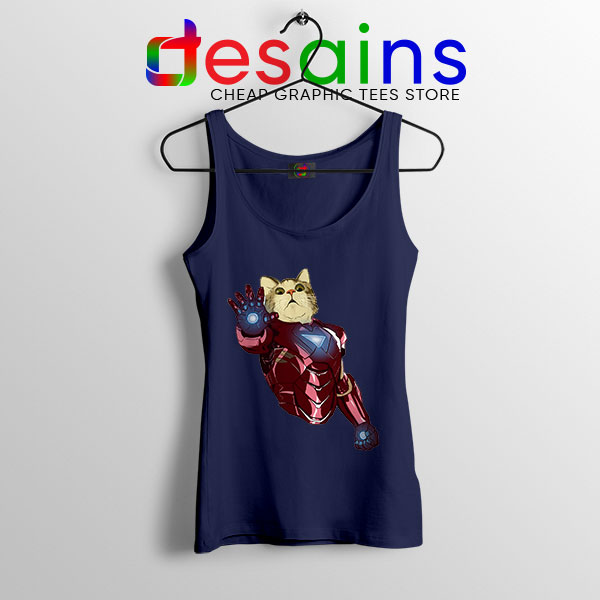 Meow Iron Man Avengers Navy Tank Top Funny Cats