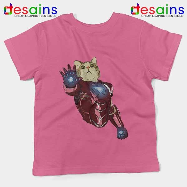 Meow Iron Man Avengers Pink Kids Tee Funny Cats