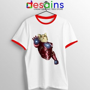 Meow Iron Man Avengers Red Ringer Tee Funny Cats