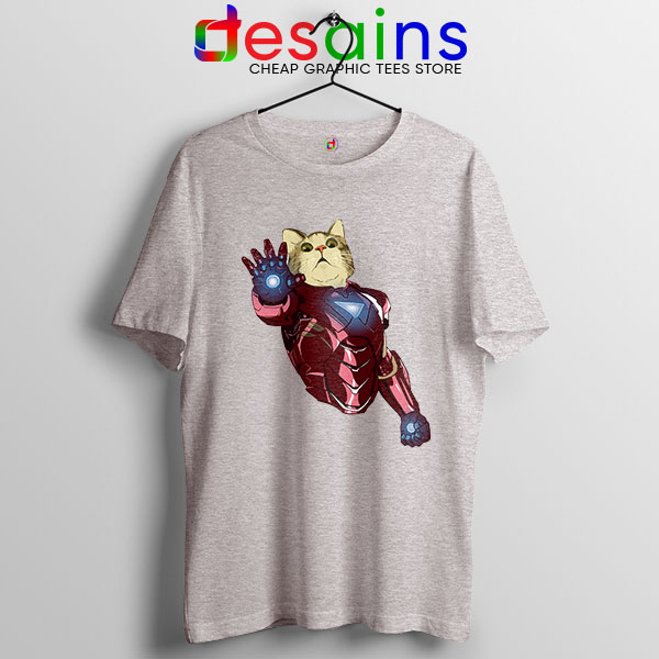 Meow Iron Man Avengers Sport Grey T Shirt Funny Cats