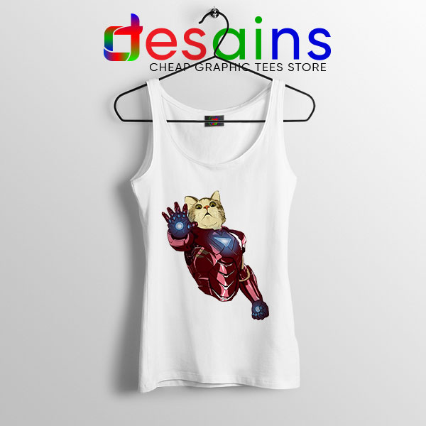 Meow Iron Man Avengers White Tank Top Funny Cats