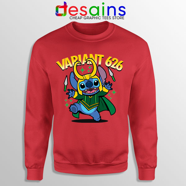 Variant Loki Funny Stitch Red Sweatshirt Marvel Comics TVA