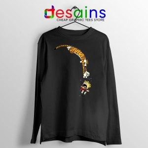 Calvin and Hobbes Jump Black Long Sleeve Tee Funny Strip