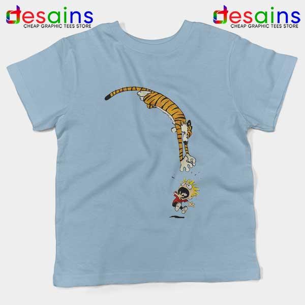 Calvin and Hobbes Jump Light Blue Kids Tee Funny Strip