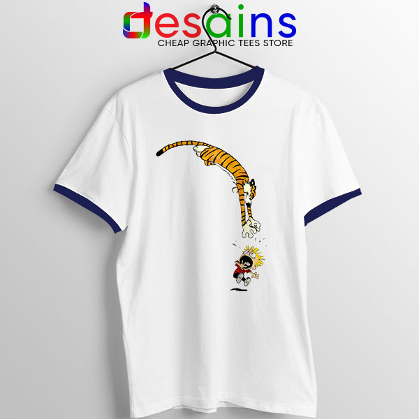 Calvin and Hobbes Jump Navy Ringer Tee Funny Strip