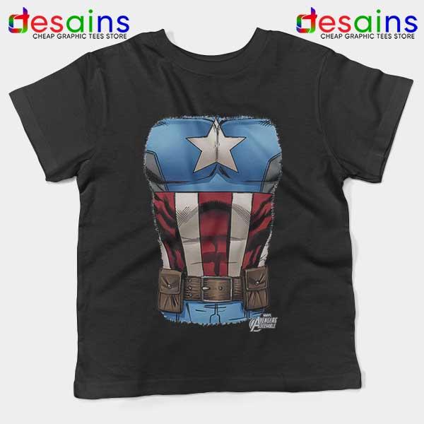 Captain America Chest Flag Black Kids Tee Avengers