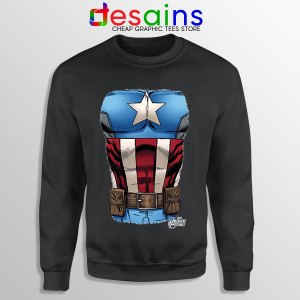 Captain America Chest Flag Black Sweatshirt Avengers