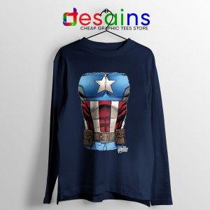 Captain America Chest Flag Navy Long Sleeve Tee Avengers