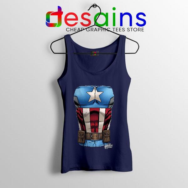 Captain America Chest Flag Navy Tank Top Avengers Endgame