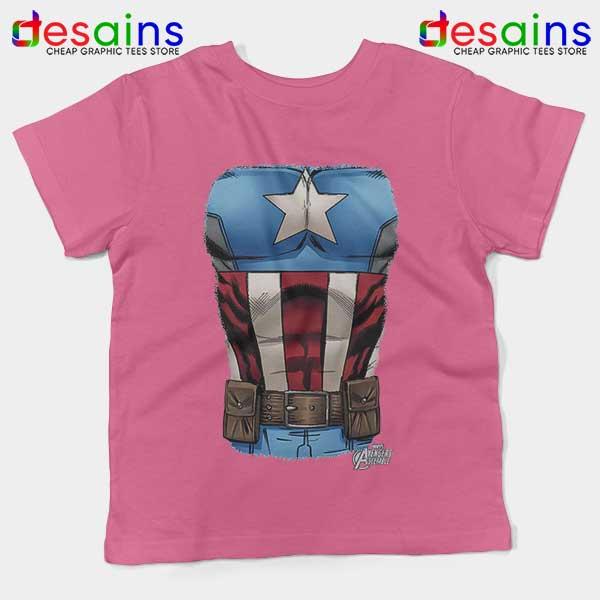 Captain America Chest Flag Pink Kids Tee Avengers