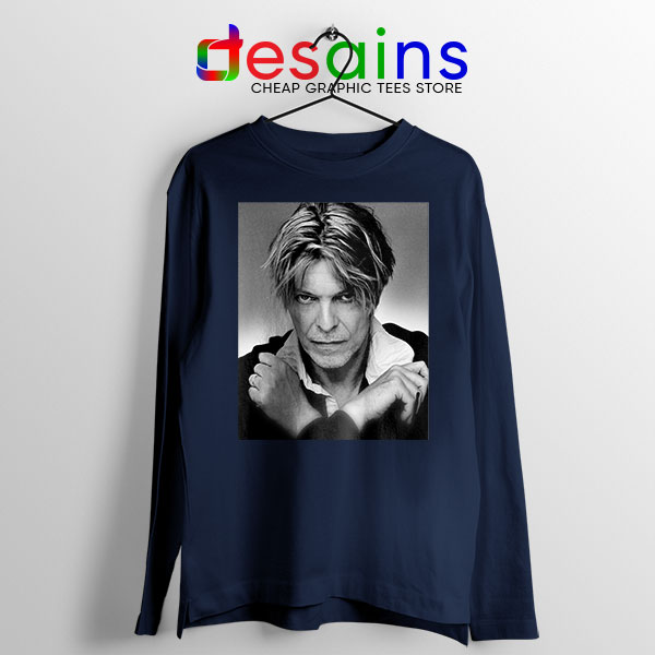 David Bowie Eyes Color Navy Long Sleeve Tee Album Cover